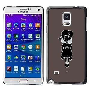 Be Good Phone Accessory // Dura Cáscara cubierta Protectora Caso Carcasa Funda de Protección para Samsung Galaxy Note 4 SM-N910 // Black & White Cute Girl