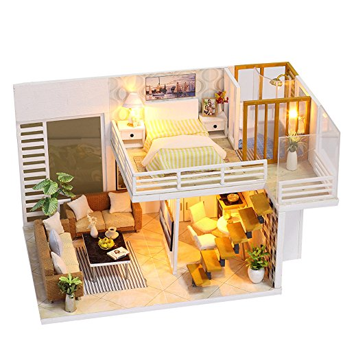ROBOX Dollhouse Miniatures DIY Kits for Adults 1/24 Scale Wooden Models with Kitchen Bathroom Tiny Doll House Mini Room Gifts for Kids Boys Girls Home Decor LED Light and Dust Proof