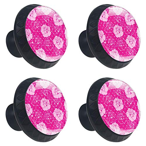 (LORVIES Floral Roses Candy Pink with Polka Dots Drawer Knob Pull Handle Crystal Glass Circle Shape Cabinet Drawer Pulls Cupboard Knobs with Screws for Home Office Cabinet Cupboard (4 Pieces))