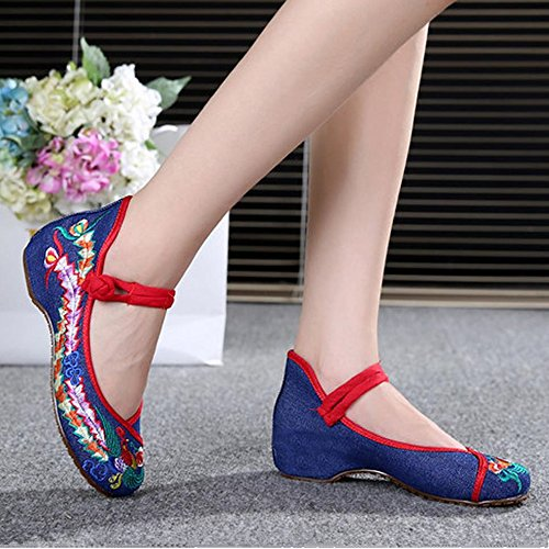 Royal Victory R&V Fashion Women Shoes Walking Dancing Embroidery Vintage Mary Jane Flats Blue 6IRIjGyI