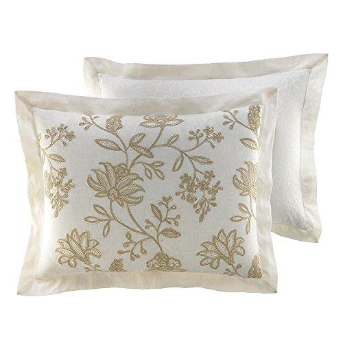 Croscill Devon Sham - Standard (Taupe & Ivory Embroidered Floral) Croscill White Sham