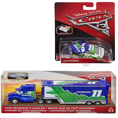 Disney Pixar Cars 3 Chip Gearings Hauler (Combustr) and Disney/Pixar Cars 3 Chip Gearings (Combustr) Die-Cast Car Bundle