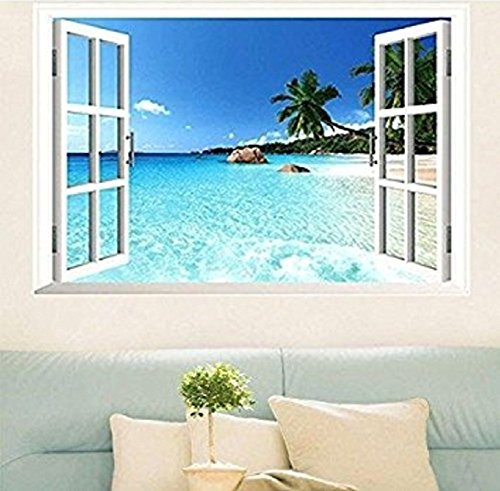 Large Removable Beach Sea 3D Window Decal Wall Sticker Home Decor Exotic Beach View Art Wallpaper - Faux Window Seascape