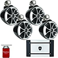 Wet Sounds Bundle - Two Pairs of ICON8-BSC 8 Black Swivel Clamp Tower Speakers HT-2 600 Watt Amplifier