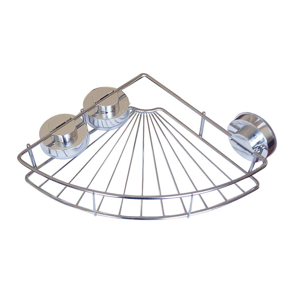 Bathroom Shower Basket Suction Cup Corner Shower Shelf Stainless Steel Wall Shower Caddy for Bathroom Storage(Chrome)