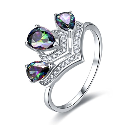 Topaz Crown Ring (Merthus Mothers Day Gifts Womens 925 Sterling Silver Created Mystic Rainbow Topaz Crown Ring)