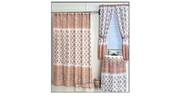 Amazoncom Home Fashions Ocean Sea Shells Shower And Window Curtain