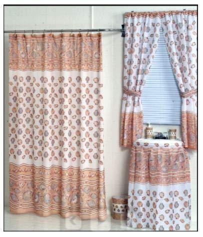Home Fashions Ocean Sea Shells Shower and Window Curtain Set