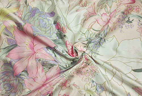 05 Mulberry - Maxfeel 100% Pure Mulberry Silk Charmuse Floral Fabric 45 Wide for Bedding Dress By the Yard or By Half Yard (Sold by the yard, 05)