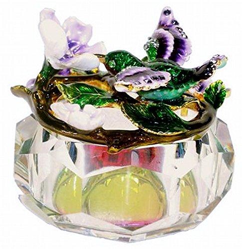 Welforth Jeweled Enamel Green Hummingbird & Purple Flower Rainbow Crystal Treasure Trinket (Hummingbird Jeweled Box)