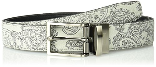 Tallia Men's Suede Embossed Reversible Belt, gray, 32