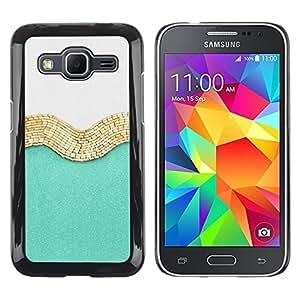 TopCaseStore / la caja del caucho duro de la cubierta de protección de la piel - Gold White Fashion Shiny Fashion - Samsung Galaxy Core Prime SM-G360