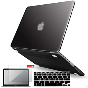 IBENZER MacBook Pro 15 Inch Case 2015 2014 2013 2012 A1398, Hard Shell Case with Keyboard Cover & Screen Protector for Old Version Apple Mac Pro Retina 15, Black, R15BK+2