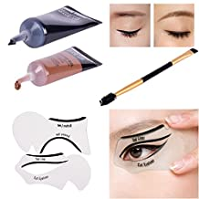 Lover Bar 2 Colour Gel Eyeliner Set-Porfessional Brown and Black Eyelash-Make Up Brow Dye Kits-Beauty Cosmetics Cream Mascara Gel EyebrowEnhancerwith Makeup Brush Comb+Cat Shaping Eye Liner Stencils by Lover Bar