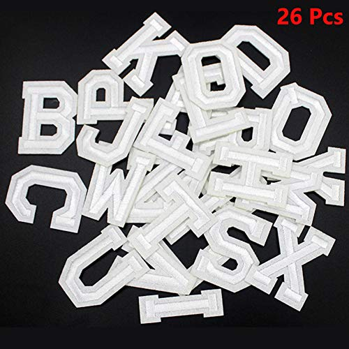 Letter Iron on Patches Sew on Appliques White Alphabet Embroidered Patch Letter A-Z Custom Name Badge Decoration Repair Patches for Hat Shirt Jacket Shoe Clothing (26 Piece Letters)