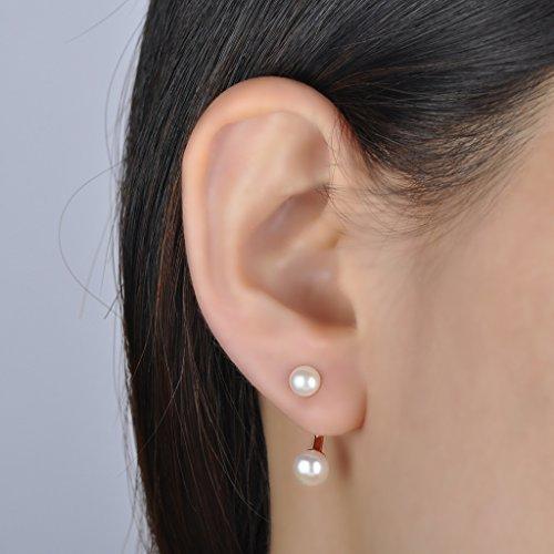 Infinite U Boucle d'oreille de perle élégant particulier et aimable S925 argent clou d'oreille or rose amovible et multiple moyen de porter pour femme fille