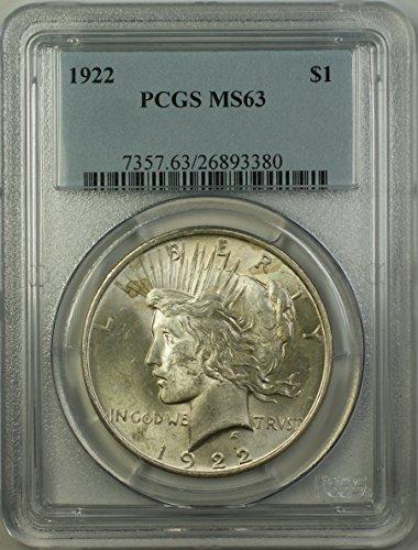 1922 Peace Silver Dollar Coin (ABR11-Q) $1 MS-63 PCGS