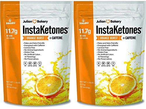 Julian Bakery InstaKetones® 11.7g GoBHB® Per Scoop +Organic Caffeine (Orange Burst) (2 Pack) (+Caffeine) (60 Servings) Exogenous Ketones