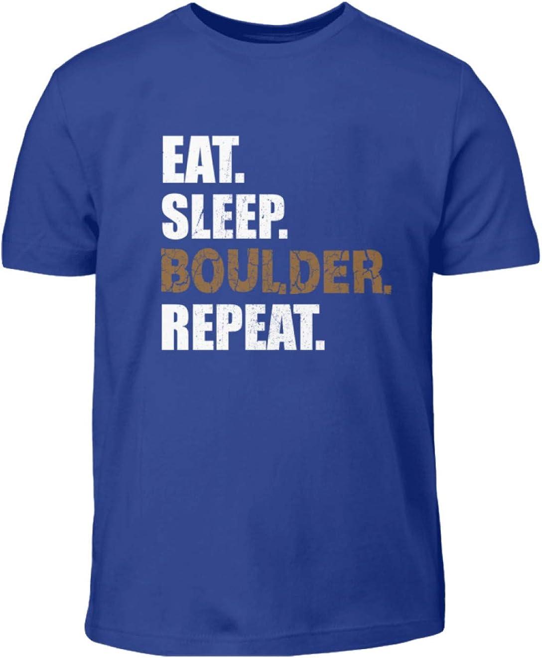 sleep dise/ño con texto Eat Boulder Shirtzshop Camiseta de manga corta para ni/ño