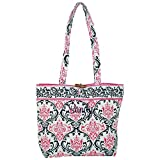 Best World Traveler Overnight Business Travel Bags - Personalized Hot Pink and Black Damask Quilted Tote Review