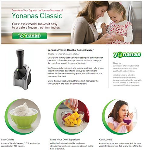 Yonanas 902 Classic Original Healthy Dessert Fruit Soft Serve Maker Creates Dairy Free Vegan Alternatives to Ice Cream Frozen Yogurt Sorbet & Zonoz Premium 5-Piece Silicone Spatula Set (Bundle) by Yonanas (Image #7)'