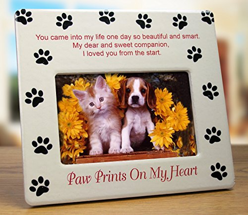 Pet Memorial Picture Frame - Paw Prints on My Heart - Pet Sympathy Gift - Pet Bereavement Gift - Pet Frame - Pet Memorial (Gifts For Pets)