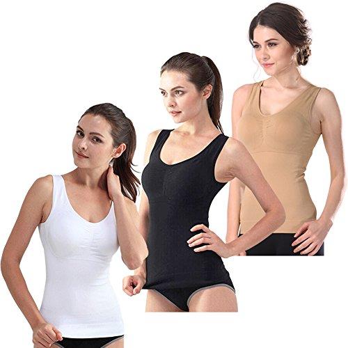 (Women's Cami Shaper Tank Top with Built in Bra Removable, Shapewear Tank for Women (Black,White,Khaki, Medium))