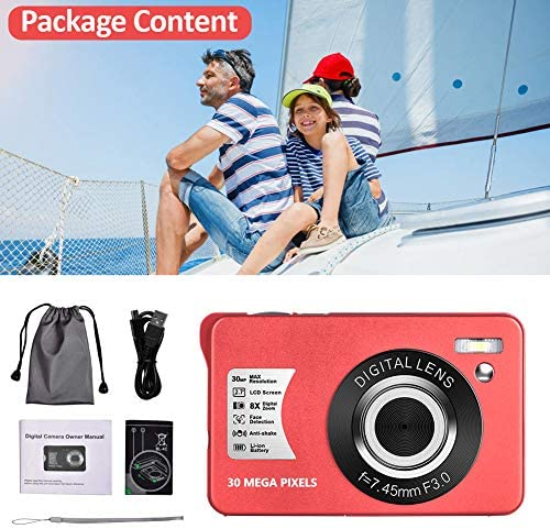 Digital Camera HD 1080P Vlogging Camera 30 MP Mini Cheap Camera 2.7 Inch LCD Screen Camera with 8X Digital Zoom Compact Cameras for Adult, Kids, Beginners (Red)