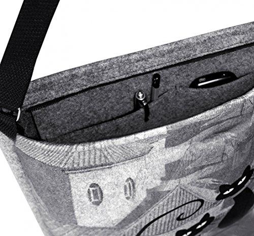 Bertoni Umhängetasche Filztasche Druck Grau Handtasche Damen mit Schultertasche Shopper Farbe Tasche PIwPpqr