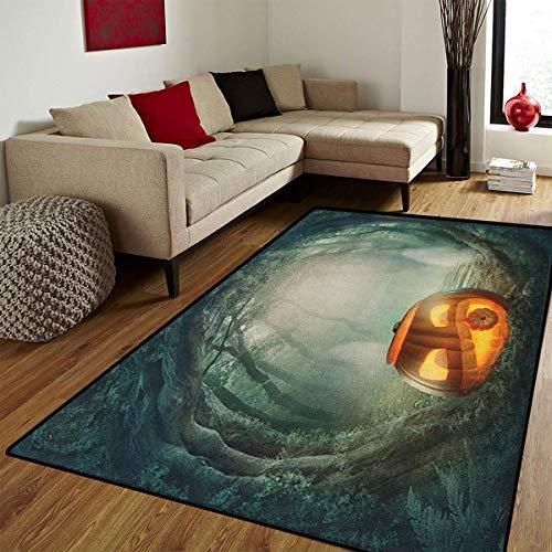 Halloween,Door Mats Area Rug,Drawing of Scary Halloween Pumpkin Enchanted Forest Mystic Twilight Party Art,Customize Door mats for Home Mat,Orange Teal,6x8 ft ()