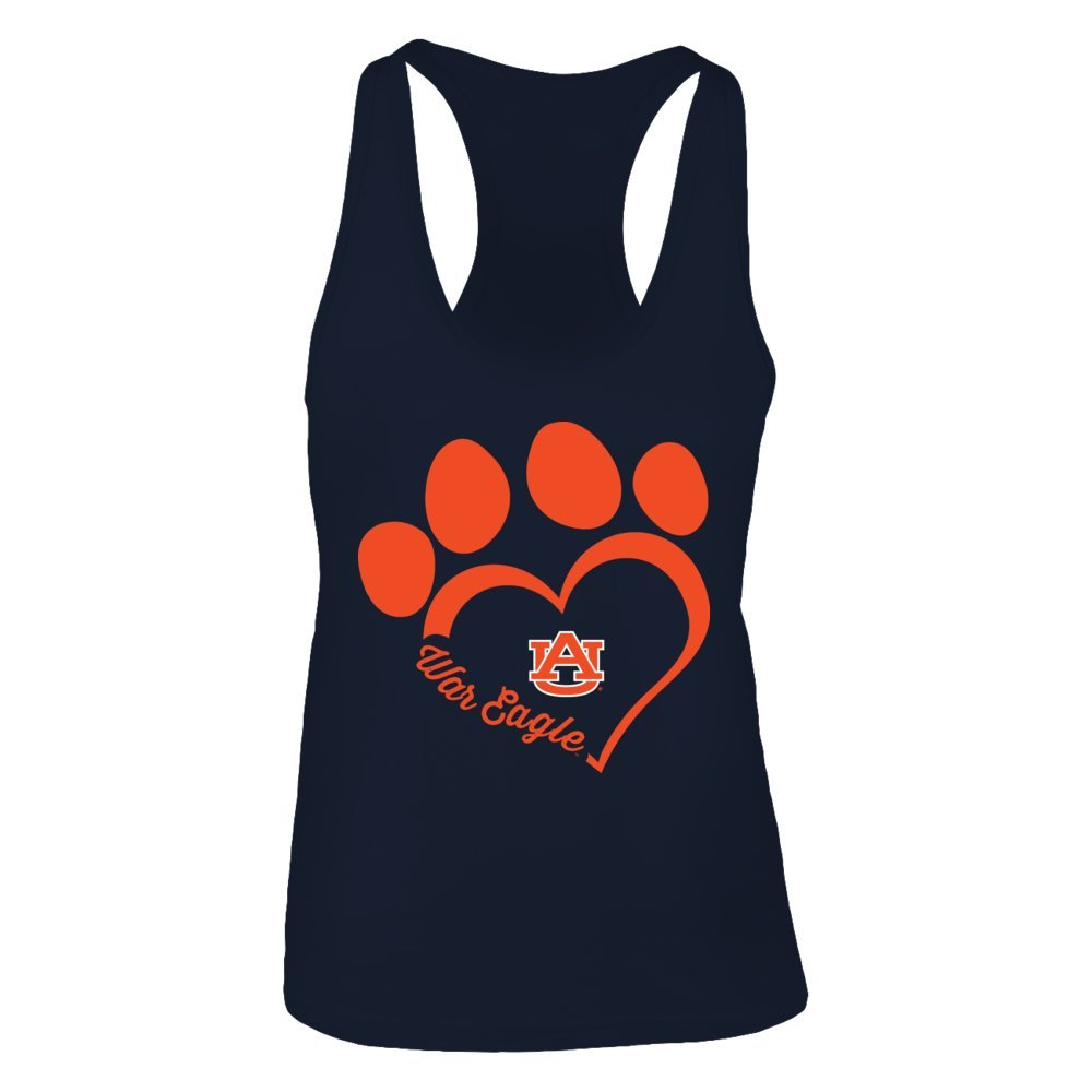 Paw Heart Outline FanPrint Auburn Tigers T-Shirt