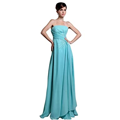 Dearta Womens A-Line Strapless Floor-Length Prom Dresses US 2 Blue