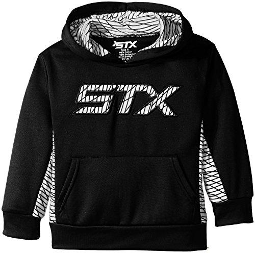 STX Little Boys' Fleece Pullover Hoodie Sweatshirt, Black/White Print, 5/6