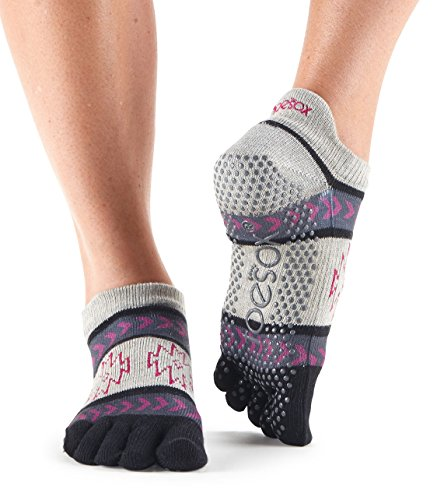 ToeSox Women's Low Rise Full Toe Grip Socks (Moonshade) Medium