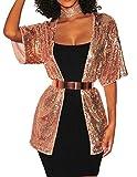 Nanquan-women clothes NQ Women's Casual Hip Hop Sequins Cardigan Open Front Jacket Blazer Golden US M