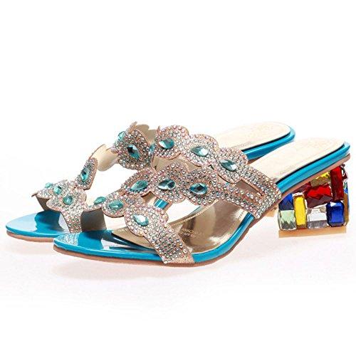 Mujer Tacon blue Zanpa Mules On Slip Moda Sandalias Anchos 2 pdWHqf