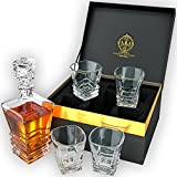 Art Deco Premium Quality Whiskey Decanter Set With 4 Glasses In Elegant Gift Box. Lead-Free Crystal Liquor Decanter, Dishwasher Safe. The Original Art Deco Decanter Set For Whisky, Scotch Or Bourbon.