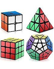 Roxenda Cubo de Velocidad Bundle Moyu 2x2 3x3 4x4 5x5 Stickerless Brillante Cubo Magico Liso Puzzles Cube Set con Embalaje de Regalo