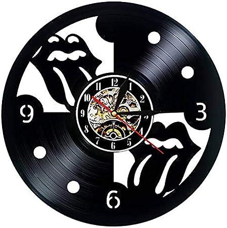 BFMBCHDJ Reloj de Pared de Disco de Vinilo Diseño Moderno The Rolling Stone Rock Band Relojes de música Reloj de Pared Colgante Decoración para el hogar Regalo para fanáticos con LED de 12 Pulgadas
