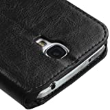 Samsung Galaxy S4 Case - Wydan Leather Wallet Style Case Folio Flip Foldable Stand Dual Card Slot Credit Card Cover - Black
