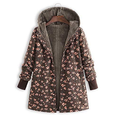 Un Longues D'hiver Lâche En Amuster Cardigan Marron Manteau Femme Impression Coton Manches Capuche À Long Dans wW8vFqn