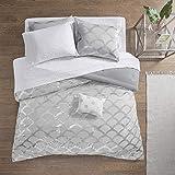 Intelligent Design Lorna Metallic Print Mermid Scale Scallop Polka Dots Ultrasoft Microfiber Comforter and Sheet Set Bag Bedding, Twin XL Size, Gray 6 Piece