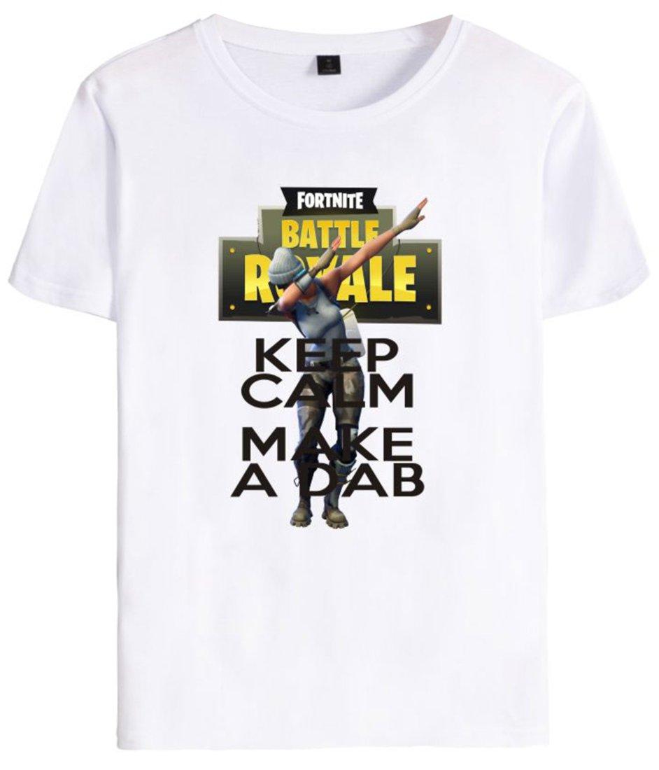 EMILYLE Unisex Fortnite Keep Calm Dab T-Shirt Personajes De Fortnite Impreso Figura Camiseta para Hombres Niño A6839