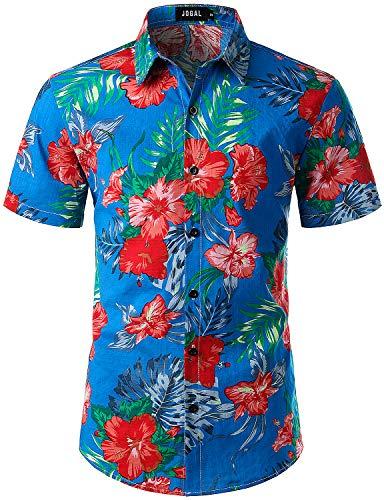 (JOGAL Men's Flower Casual Button Down Short Sleeve Hawaiian Shirt Large A334 Lakeblue)