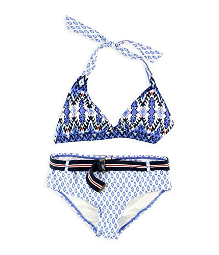 Belted Hipster Bikini - Tommy Hilfiger Womens Printed Belted Hipster 2 Piece Bikini Blue XS