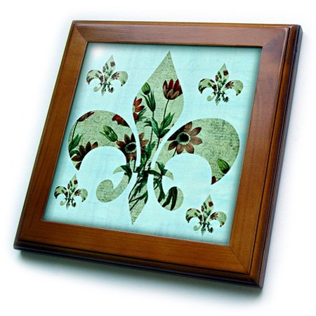 3dRose ft_123343_1 French Fleur De Lis with Anemone Flowers Framed Tile, 8 by ()