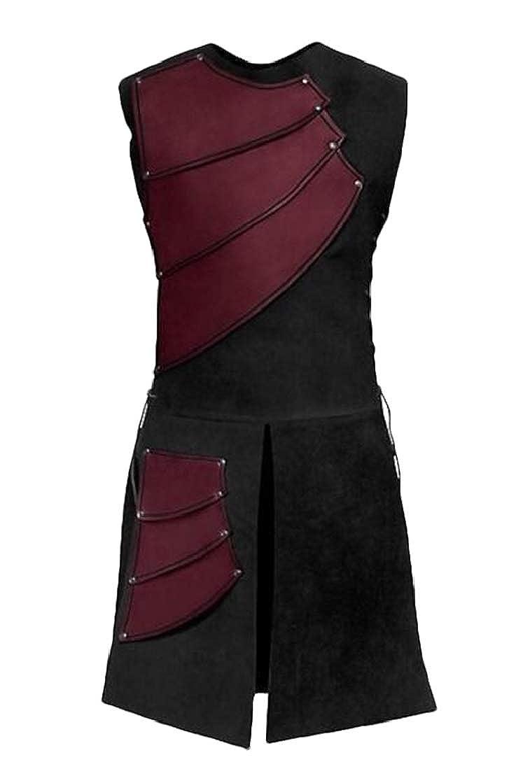 Gnao Mens Vintage Crew Neck Lace Up Bandage Show Sleeveless Vest