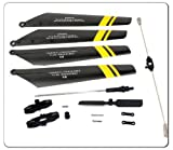 ThinkMax Quick Wear Spare Parts Set(balance bar/connect buckle/main blade grip set/bottom fan clip/inner shaft/Tail Rotor/Main Blades Set)-yellow set for Double Horse 9101 RC Helicopter