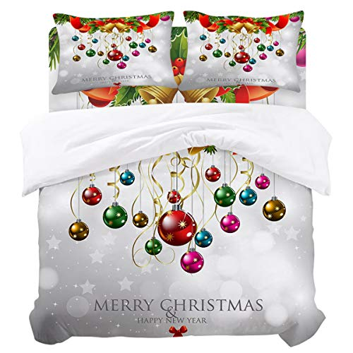 DaringOne Christmas Balls (4 Pcs, Queen) Queen Size Cedar Bell Ribbon Xmas Holiday Decorations Bedding Set 4 Piece Lightweight Bed Comforter Covers Includes 2 Pillow Shams ()