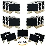 Woohome Mini Blackboard, 25 PCS Small Chalkboard with Stand Wooden for Message Board Signs, Wedding Table, Kids Craft Party